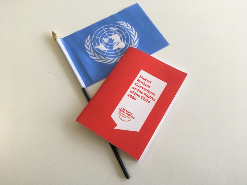 A picture of our UNCRC pocketbook together with a UN flag.