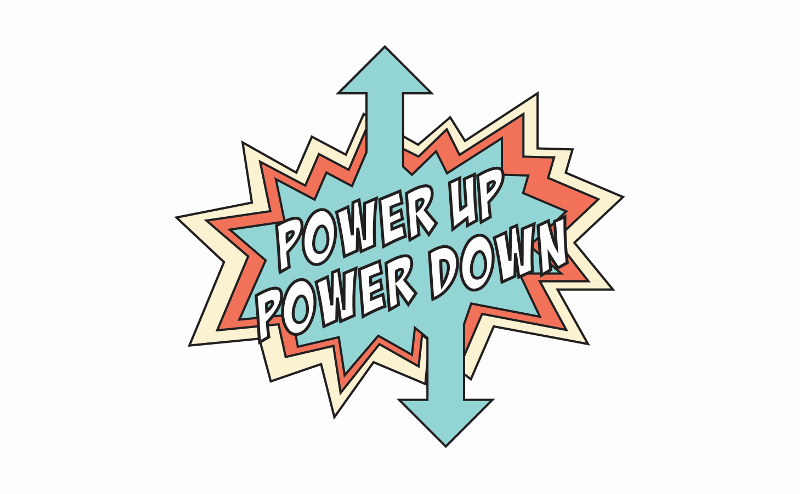 The logo for the Power Up/Power Down project.