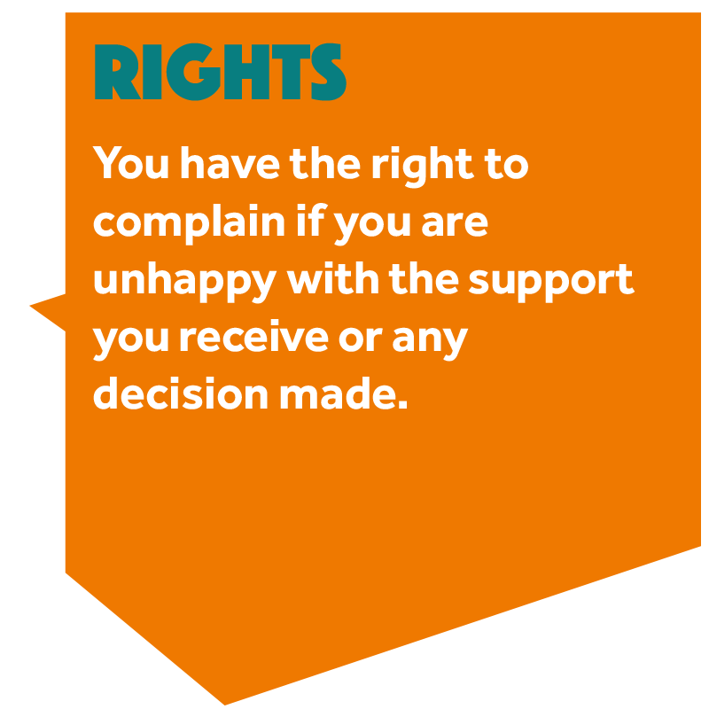 Image that reads:'You have the right to complain if you are unhappy with the support you receive or any decision made.'