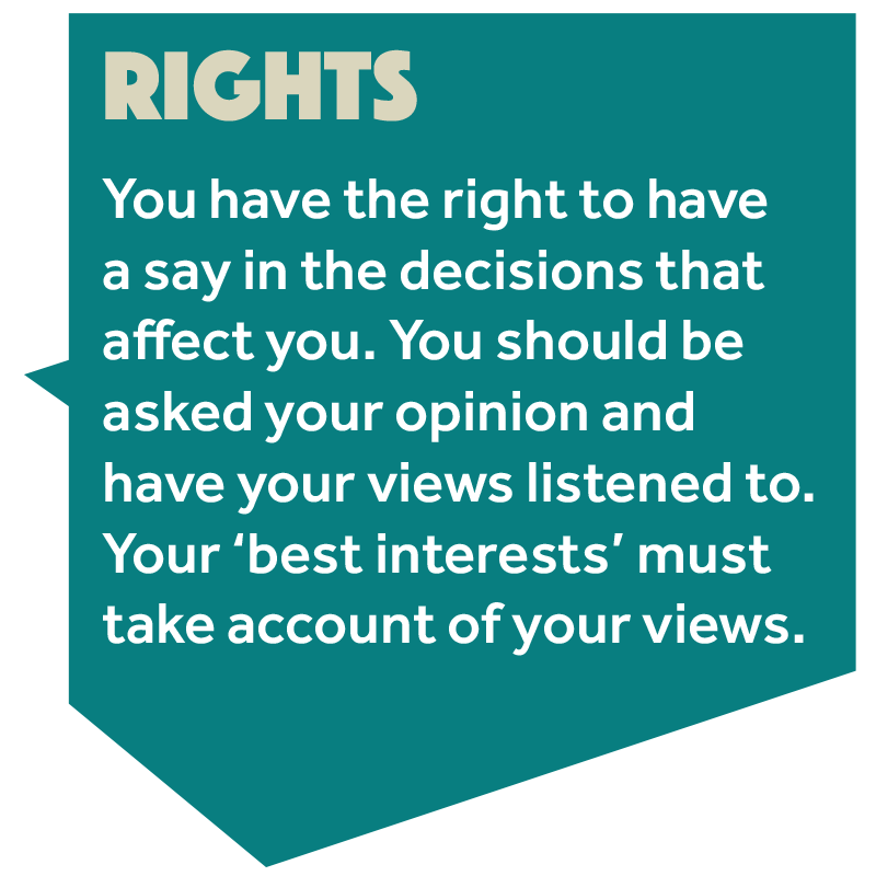 Image that reads: 'You have the right to have a say in the decisions that affect you. You should be asked your opinion and have your views listened to. Your best interests must take account of your views.'