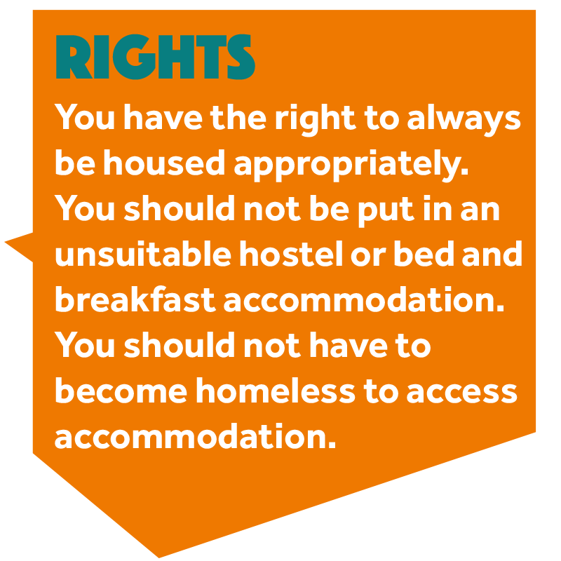 Image that reads: 'You should always be housed appropriately. You should not be put in an unsuitable hostel or bed and breakfast accommodation. You should not have to become homeless to access accommodation.'
