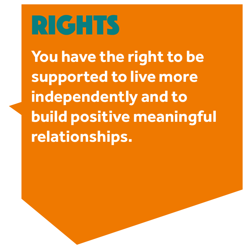 Image that reads: You have the right to be supported to live more independently and to build positive, meaningful relationships.'